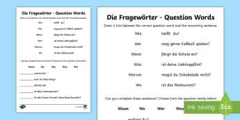 Question Words Activity German  - German Grammar Resources