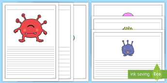 Name the Alien Writing Frames Pack - phonics, aliens, space, alien, writing, border, page border,