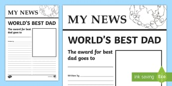 Father's Day Newspaper Writing Template - Worlds Best Mum Newspaper Template - worlds best mum newspaper template, worlds best, mum, mum, best