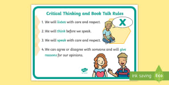 Critical Thinking and Book Talk Rules Display Poster - New, Language, Curriculum, Ireland, Oral, Primary, Teaching