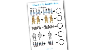 Wizard of OZ Addition Sheet - wizard of oz, addition sheet, addition, addition worksheet, wizard of oz worksheet, wizard of oz addition, numeracy, maths
