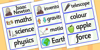 Isaac Newton Word Cards - isaac newton, word cards, themed word cards, cards of words, key words, topic words, words, writing aid, writing guide, keywords