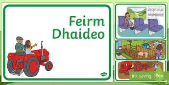 Grandad's Farm Gaeilge - Gaeilge, Irish, Feirm, Ar an bhfeirm, Sa Bhaile, Scéal, story, farm, at home, mo chlann, my family, Irish reading