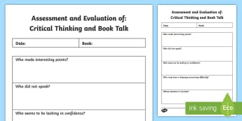 Evaluation of Critical Thinking and Book Talk Assessment Tracker - New, Language, Curriculum, Ireland, Oral, Primary, Teaching,Irish
