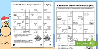 Christmas Compass Activity English/Afrikaans  - December, direction, toys, Santa, rigting, Desember, EAL