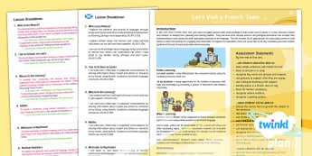 CfE Second Level French Year 6 Let's Visit A French Town PlanIt Overview - CfE Planit Overviews, where you live, school, library, maths, numbers, one plus two, MfL,