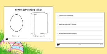 Easter Egg Packaging Design Template - australia, Easter Egg, Easter, design, technology, art, visual art, drawing, template, worksheet, packaging, box