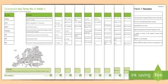 Development Dynamics Mix 'n' Match Activity Pack - key, terms, industry, HIC, LIC, glossary, gcse, ks4