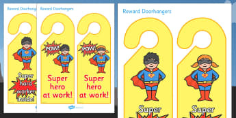 Superhero Reward Door Hangers - superhero reward door hangers, superhero, reward, door hangers, door, hangers, rewards, award, superheroes, sign, label