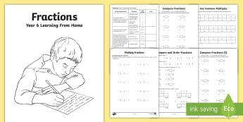 Year 6 Fractions Learning from Home Maths Activity Booklet - home learning, homework, home school, fractions, decimals, percentages, equivalences, equivalent