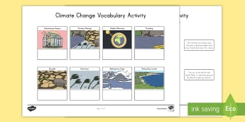 Climate Change Vocabulary Activity - Climate, Climate Change, Greenhouse Gases, Flooding, Drought, Carbon Dioxide