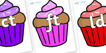 Final Letter Blends on Cupcakes - Final Letters, final letter, letter blend, letter blends, consonant, consonants, digraph, trigraph, literacy, alphabet, letters, foundation stage literacy