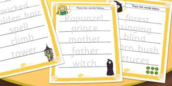 Rapunzel Trace the Words Worksheet - rapunzel, key, word, key words, tracing, worksheets, key word worksheets, tracing worksheets, sheets about rapunzel