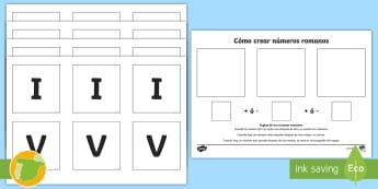 Ficha: Cómo crear los números romanos - numeración romana, actividad, mates, matemáticas, historia, ,Spanish