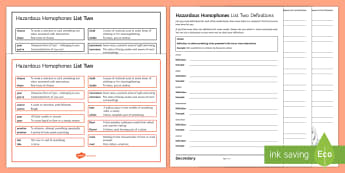 Hazardous Homophones List Two Activity Pack - KS3, SPAG, Spelling, Homophone, Homophones, definitions, word, language