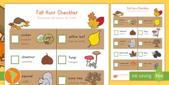 Fall Hunt Checklist US English/Spanish (Latin) - spanish, eal, dual language, outdoor learning, Autumn