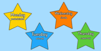 Multicoloured Stars Days of the Week Polish Translation - polish, multicoloured, stars, days of the week, days, week