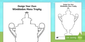 Design Your Own Wimbledon Men's Trophy Activity Sheet - winner, final, tennis, andy murray, finalist, worksheet