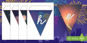 Frohes neues Jahr Fahnengirlande für die Klassenraumgestaltung - Neujahr, Silvester, frohes neues, prost neujahr, winter, winterzeit, fahnengirlande, klassenraumgest