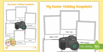 Easter Holiday Snapshots Writing Frame - KS1 & 2 Easter 2017 (16th April), easter, holiday, back to school, recount, snapshots,