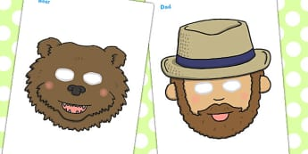 We're Going On A Bear Hunt Role Play Masks - role play mask, role play, Bear Hunt, Michael Rosen, resources, swishy swashy, Bear Hunt, Bear Hunt Story, splash splosh, thick oozy, deep dark cave, family, journey, story, story book, st