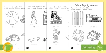 Colorear con números: Juguetes Inglés - toys, juegos, games, colouring, pintar, colores,Spanish translation