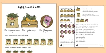 Counting in 2s, 5s and 10s Multiplication Worksheet Welsh - welsh, cymraeg, cyfri, 2, 5, 10, problem rhif, worksheet