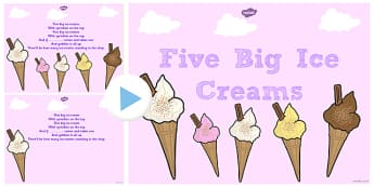 Five Big Ice Creams Counting Song PowerPoint - Ice, Cream, Song