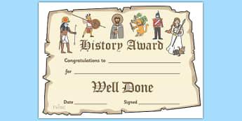 History Award Certificate - history display banner, history, past, old, certificates, award, well done, reward, medal, rewards, school, general, certificate, achievement, subject, World War, Victorians, Vikings, queens, kings