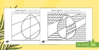 Easter Egg Art Activity Sheet US English/Spanish (Latin) - Easter Egg Art Activity, art, coloring, easter, easter eggs, coloring, spanish, espanol, español
