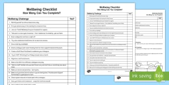 Staff Wellbeing Challenge Checklist - Well Being, Staff Rewards, Health, Workload, Wellness, motivation, mental, support