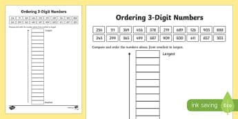 Place Value Ordering 3-Digit Numbers Activity Sheet-Scottish, worksheet