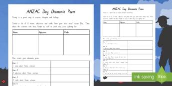 Anzac Diamante Poem Activity Sheet - - New Zealand, Anzac Day, 25 April, ANZAC, Poppies, World War 1, World War 2, worksheet, Gallipoli, Di