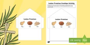 Lenten Promises Envelope Activity -  Lent, Lenten promise,Scottish, Easter,