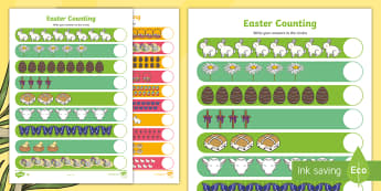 My Counting Worksheet (Easter) - Counting worksheet, Easter, counting, activity, how many, foundation numeracy, counting on, counting back, Easter, bible, egg, Jesus, cross, Easter Sunday, bunny, chocolate, hot cross buns