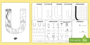 Consolidarea literei U Broșură - alfabetul, alfabetar, litere, sunete, grafisme,Romanian