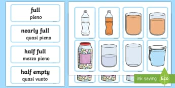 Capacity Matching Cards English/Italian - Capacity Matching Cards EYFS - capacity, maths, numeracy, matching cards, match, cards, eyfs, capact