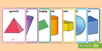 Posteri Siapiau 3D - Siâp 2D, defnyddio sgiliau geometreg, Siâp, siap, Siap, enwau siapiau 2D, cylch, Cylch, Sgwar, sgw