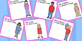 Cartes de vocabulaire : Les déterminants possessifs