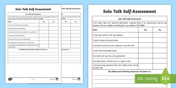 CfE Second Level Solo Talk Self Assessment Grid - self-assessment, talking and listening, LIT 2-06a, speaking, topic talk, Curriculum for Excellence,
