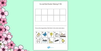 Springtime Themed Cut and Stick Number Ordering Sheets 1-10 - number