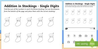 Single Digit Addition Christmas Activity Sheet - Christmas Australia, christmas, addition, single digit, mathematics, worksheet