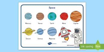 Space Word Mat - word mat, space, solar system, planets, pre-k literacy, kindergarten literacy