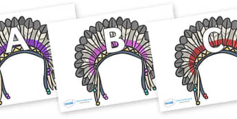 A-Z Alphabet on Headdresses - A-Z, A4, display, Alphabet frieze, Display letters, Letter posters, A-Z letters, Alphabet flashcards