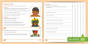 Amazon Tribes Differentiated Reading Comprehension Activity - rainforests, tupi, reading, deforestation, environment