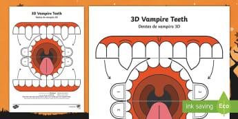 Simple 3D Halloween Vampire Teeth Activity Paper Craft English/Portuguese - halloween, teeth, vampire, eal