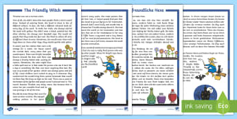 The Friendly Witch Differentiated Halloween Spooky Story English/German - Halloween, october, festival, autumn, EAL, German, English-German,,German-translation