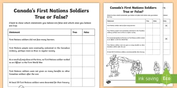 Canada's First Nations Soldiers True or False Activity - Remembrance Day, Canada, Junior, Grade 4, Grade 5, Grade 6, First World War, wW1