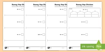 Bunny Hop Division by 8 Differentiated Activity Sheets - Repeated Subtraction, Number Line, Divide, Share, Steps