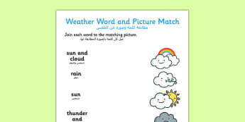 Weather Word and Picture Matching Worksheet Arabic Translation - arabic, weather, word, picture